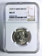 1979-p Wide Rim Near Date Susan B. Anthony Dollar Ngc Ms67 Top 100 Modern Coins