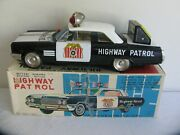 Ichiko Japan Tin Lithograph Battery Operated Buick Highway Patrol Car Works