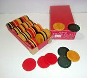 Vintage Bakelite Poker Chips Butterscotch Red And Blue Lot Of 99