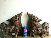 Beautiful Antique 18th C Chinese Or Japanese Huge Foo Dog Wood Statue 12.75h