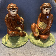 Vintage Pair Of Porcelain Ceramic Monkey Figurines Made In Italy