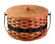 Pie Carrier, Amish Hand Woven Round Double Pie Basket Oak Bottom Tray Handles