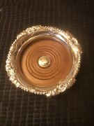 Corbell And Co. Wine Bottle Coaster Elegant Silverplated W/ Wood Shell And Leaf