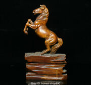 Old Chinese Boxwood Wood Hand Carving Fengshui Animal Horse Statue Sculpture Ahl