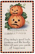 Large Fairy Tale Jol Halloween Postcard, Published By Whitney, Checkered Border