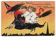 Halloween Postcard Published By Raphael Tuck And Sons Series 188 Witch Flying.