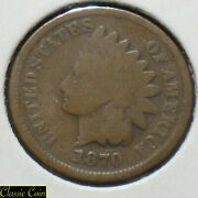 1870 Indian Head Cent 1c Tougher Date Penny Copper