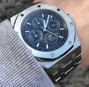 Didun Luxury Automatic Miyota Moonphase Stainless Steel Menandrsquos Date Watch Black.