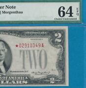 2.00 1928-d Star Red Seal Pmg Choice New 64epq United States Note