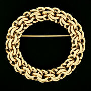 Vintage And Co. 14k Yellow Gold Multi Chain Link Circle Wreath Brooch Pin