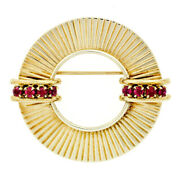 Retro Vintage 14k Yellow Gold 0.64ctw Round Ruby Fluted Circle Wreath Brooch Pin