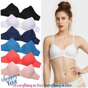 6 Pack Wireless Full Cup Cotton Padded Comfortable Cotton No Wire Bras A B C Cup