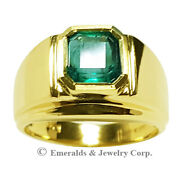 Menand039s Pinky Ring Square Emerald-cut Natural Emerald 14k Yellow Gold