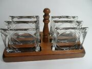 Vintage Set Of 6 Clear Glass Cigarette Ash Trays With Wood Rack