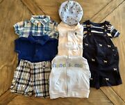 Summer Lot 9 Baby Boy Clothes 6-9 Carters Gap Janie And Jack And Hat
