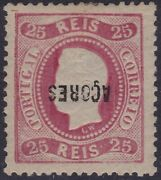 Portugal Azores 1868-70 D. Luandiacutes I Perf12andfrac12 25 Reis Little Surcharge Inverted