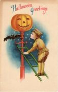 Halloween Postcard, Signed Artist Ellen Clapsaddle, Series 1901 Wolf And Co.