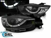 Pair Projector Headlights With Led Drl For Mazda Cx5 11-15 Black True Drl Us Lpm