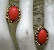 Vintage Solid 14k Yellow Gold Bezel Set Genuine Red Coral Clip On Earrings 8.2 G