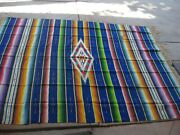 Mexican Serape Saltillo Hand Woven Wool Blanket Rug Antique Nice Colors,./720