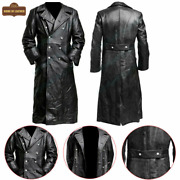 Menand039s German Classic Officer Military Ww2 Trench Coat Black Real Leather Jacket