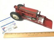 Vintage Tru Scale Red Tractor With Front Loader Farm Toy Metal Cast Tractor