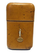 Viking England Brown Leather 14k Gold Mother Of Pearl 4 Cigar Case
