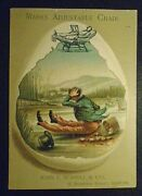 Graphic Victorian Prang Trade Card Advertising Mark's Adjustable Chair Uncle Sam