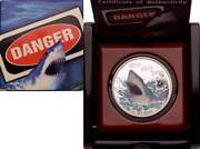 2007 1 Tuvalu 1oz Silver Proof Coin - Deadly And Dangerous - Great White Shark.
