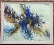 David Ben-shaul 1962 Abstract Oil On Canvas Nice Israeli Large Listed