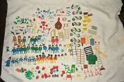 Large 200+++ Piece Lot Of 70's Geobra Playmobil People Accessories Vehicles