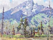 Robert B. Atwood Painting Andldquosnow Covered Mountainandrdquo C1930s Oil On Board