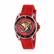 Ya136315 Dive 40mm Menand039s Embroidered Tiger Red Rubber Watch