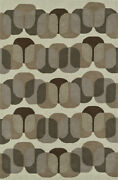 Brown Contemporary Synthetics Rounded Blocks Cubes Area Rug Geometric Jr31