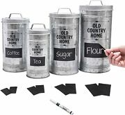 Farmhouse Kitchen Canisters Set With Removable Chalkboard Labels And Marker