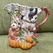 Fitz And Floyd Paint Party Fall Pumpkin Pitcher Fox Squirrel Rabbit Tree Trunk