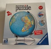 New Ravensburger The Earth 3d Jigsaw Puzzle Ball World Globe 540 Pieces Stand