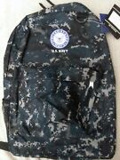 Us Navy Military Digital Blue Camo 17x12 Light Weight Backpack For Teens Adults