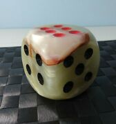 Onyx Dice Paperweight Desk Item Collectable Vintage 1970and039s 76 Mm