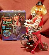 Old Pedaling Toy Happy Clown On Bicycle W/ Box Battery Operated Working Rare