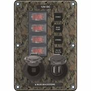 Blue Sea 4324 Circuit Breaker Switch Panel 4 Postion Camo W/12v Socket And Dual...