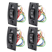 4pcs 3 Ways Bilge Pump Switch Panel Automatic-off-manual 12v 24v W/alarm Black