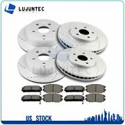Front Rear Disc Brake Rotor Ceramic Pads For 2010 2011-2017 Gmc Terrain Drilled