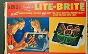 1967-2 In 1 Deluxe Lite-brite Regular + Action W/8 Different Color Pegs-hasbro