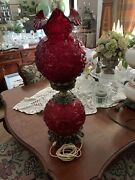 Lg Wright Fenton Poppy 24 Gone With The Wind Double Ball Lamp