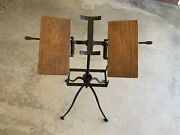 Antique Oak Wood And Cast Iron L.w. Noyes 2 Tier Book Bible Dictionary Stand