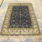 Yilong 4and039x6and039 Blue Handmade Silk All-over Area Rug Home Furniture Carpet 191a