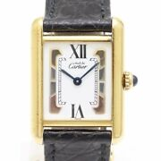 Must Tank Wrist Watch Three Gold Dial Womens Square Type W/o Box Used