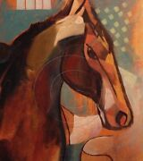 Horse Equestrian Gifts Modern Equine Painting Warm Colors Original Sfastudio