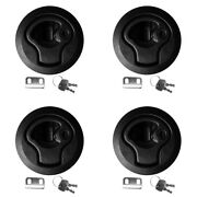 4pcs Black 2 Slam Latches Hatch Round Pull 1/4and039and039 Door For Marine Boat